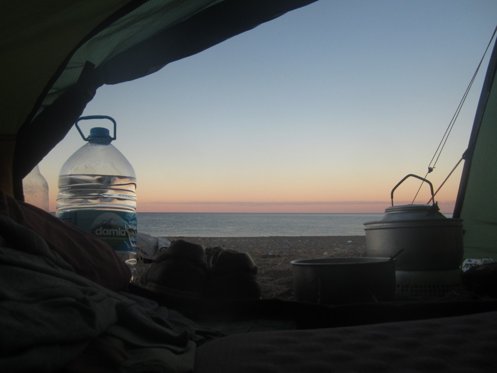 View from inside the tent